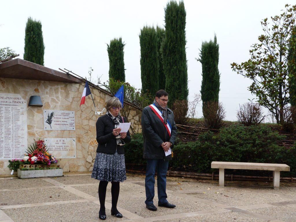 Cérémonie du 11 novemdre: discours de Madame Jalaise, vice-présidente du Conseil départemental