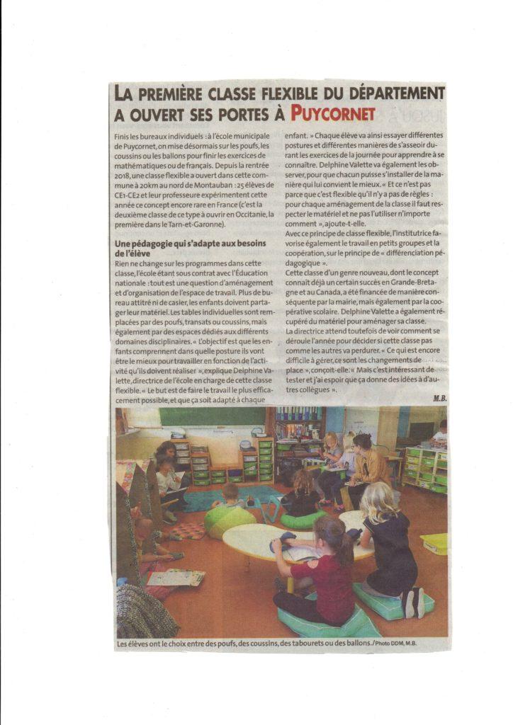 article La dépêche sur l'école de Puycornet