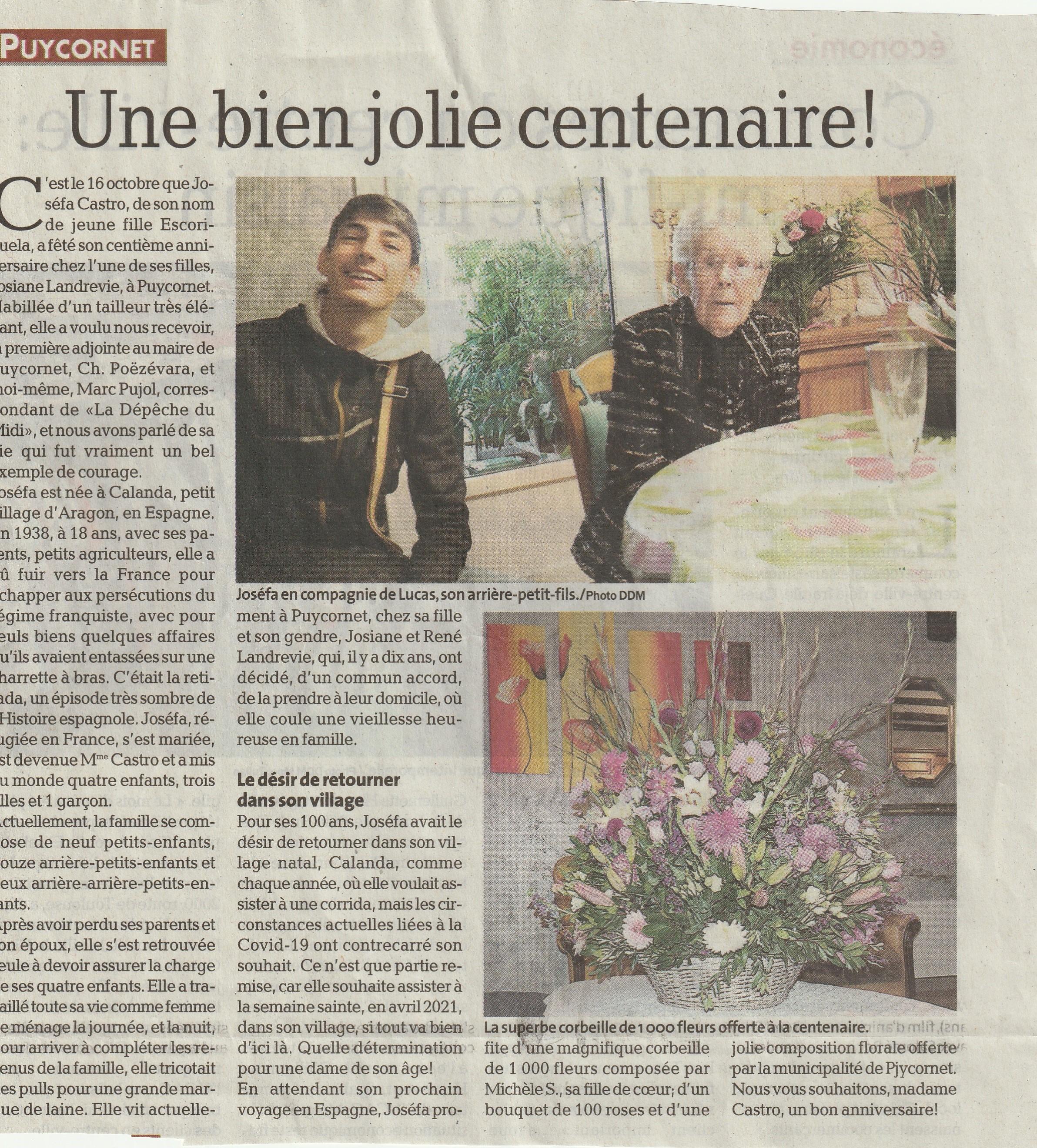 Une centenaire à Puycornet