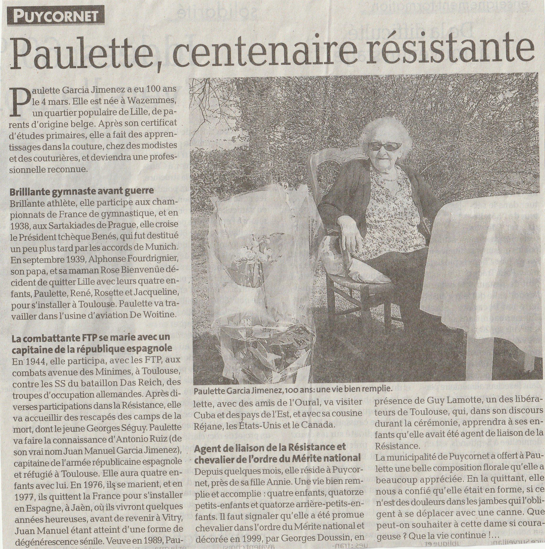 article dépêche Paulette centenaire