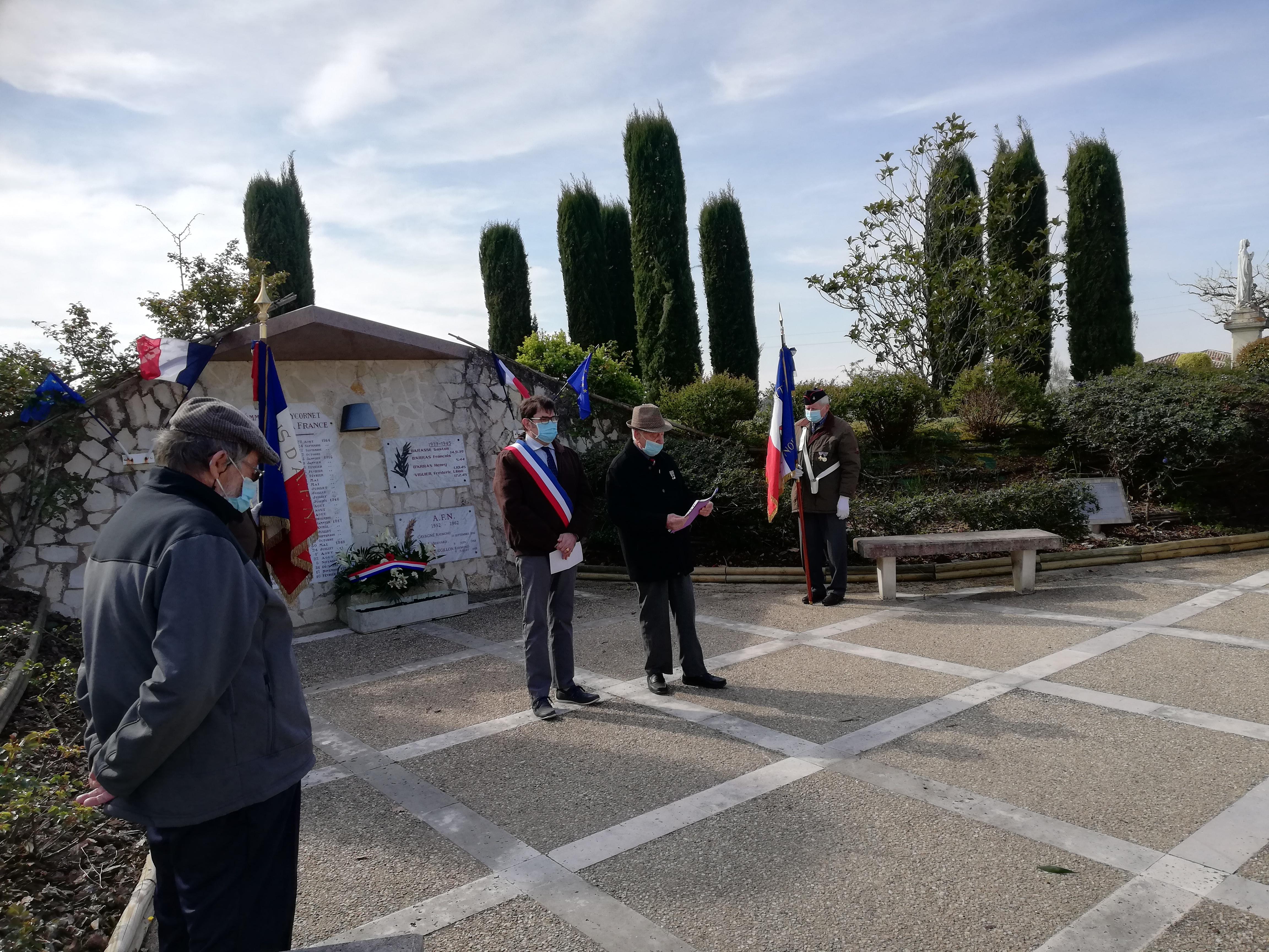 Cérémonie au monument aux morts 21/03/2021